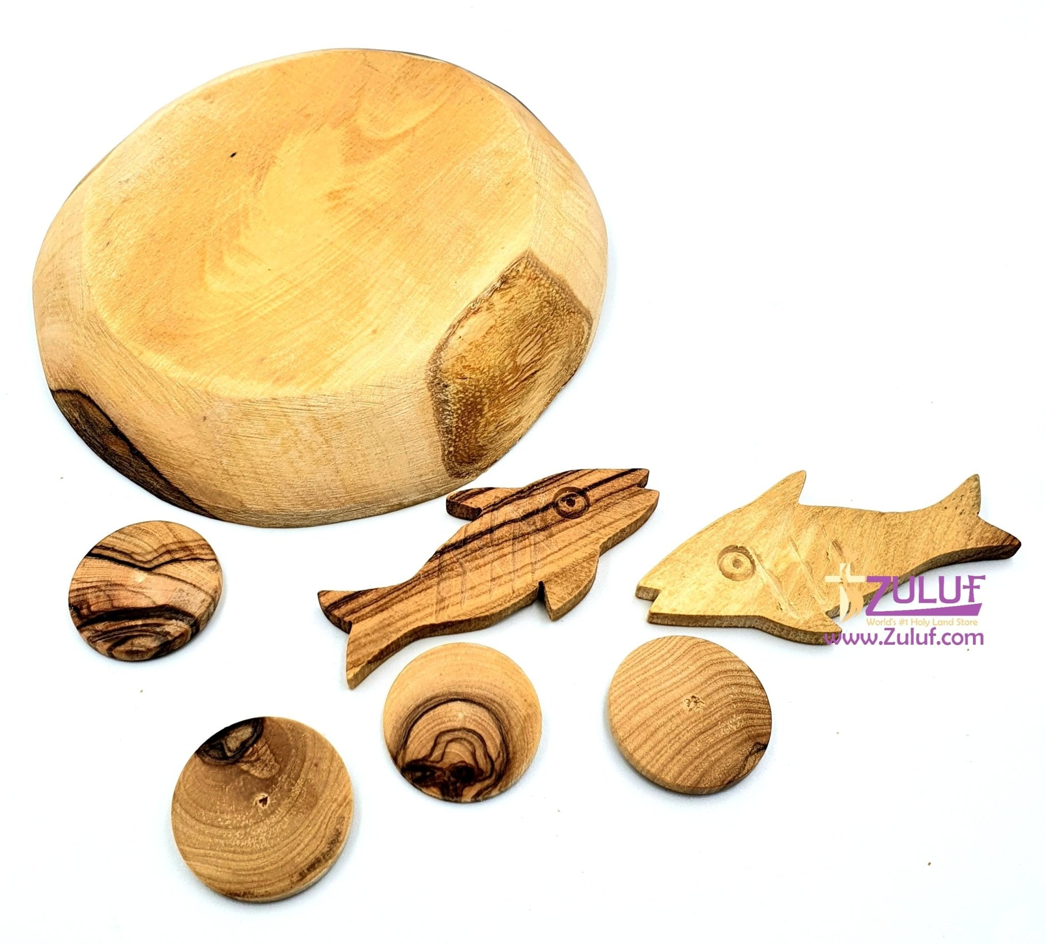 Olive wood plate with fish and bread HLG036 - Zuluf