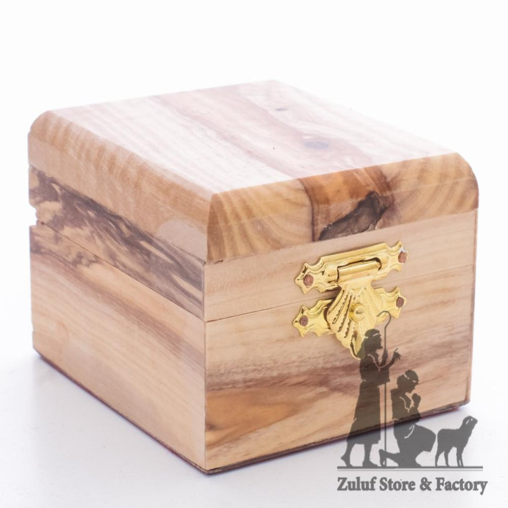 Olive Wood Rosary Box Craft In Bethlehem ZULUF - 7X6X4.5CM/2.7X2.3X1.7in (BOX001) - Zuluf