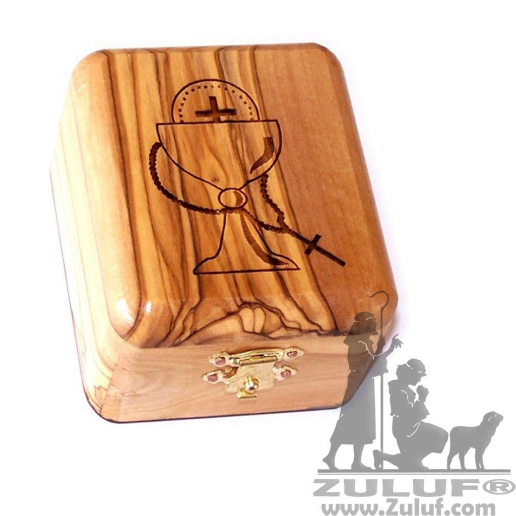 Olive Wood Rosary Box First Communion Made In Bethlehem ZULUF - 7X5.5X4CM/2.7X2.1X1.5in (BOX002) - Zuluf