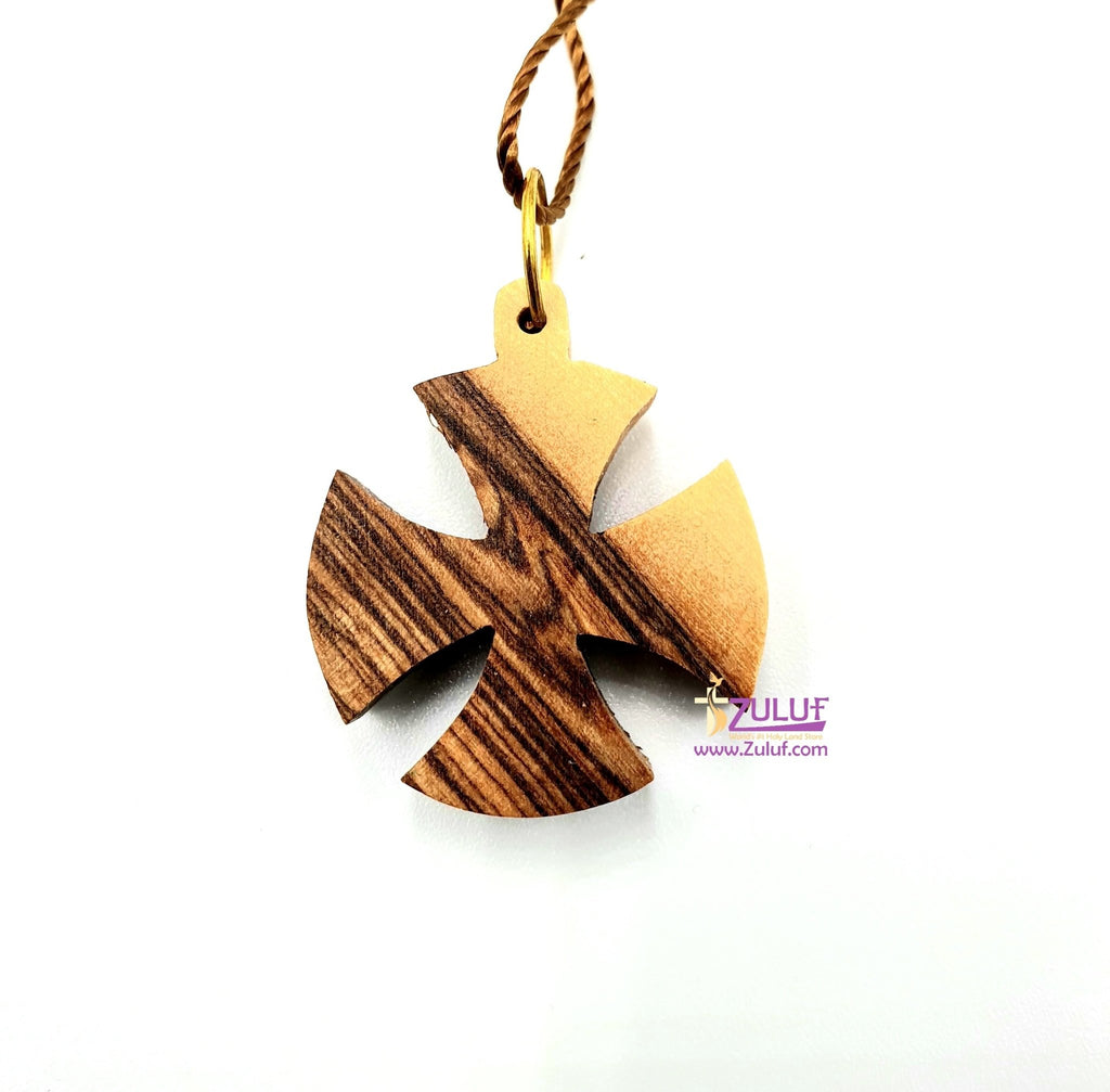 Olive Wood Rounded Cross Pendant - Consecration Cross - Bethlehem Holy Land (OW-PEN-003) - Zuluf