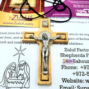 Olive Wood Saint St Benedict of Nursia Medal Cross Crucifix Pendant with 26 Inch Rope Chain Necklace - PEN119 - Zuluf