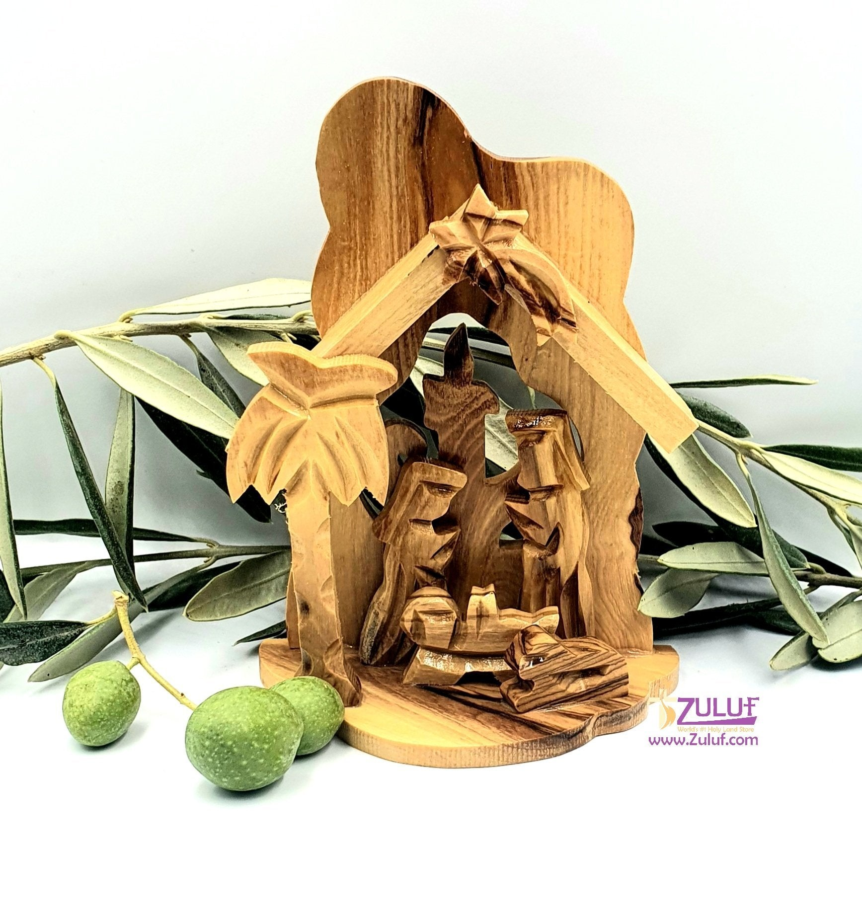 Olive Wood Small Candle Nativity Hand Made-NAT009 - Zuluf
