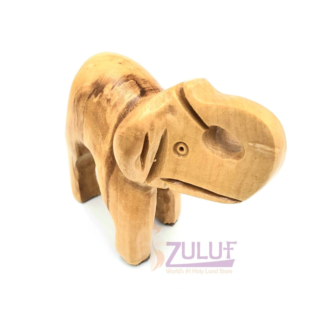 Olive Wood Small Elephant Statue Hand Made Fair Trade Gift - ANI006 - Zuluf