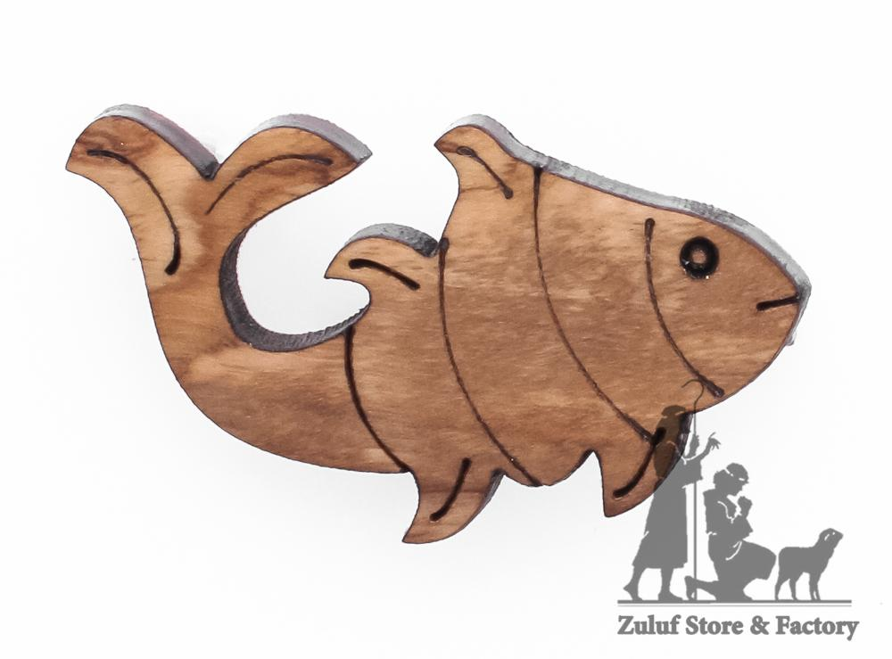 Olive Wood Small Fish Pin Gift 4X2.5CM/1.6X1in Zuluf (HLG136) - Zuluf