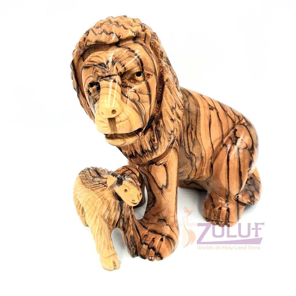 Olive Wood Small Lion and Sheep Handicraft - ANI005 - Zuluf