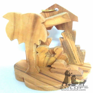 Olive Wood Small Nativity Ornament - Zuluf ORN048 - Zuluf
