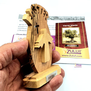 Olive Wood Tabletop Easter Gift Cross and Jesus Has Risen with Zuluf® Certificate - 10X5.5X2CM/3.9X2.1X0.78in (HLG226) - Zuluf