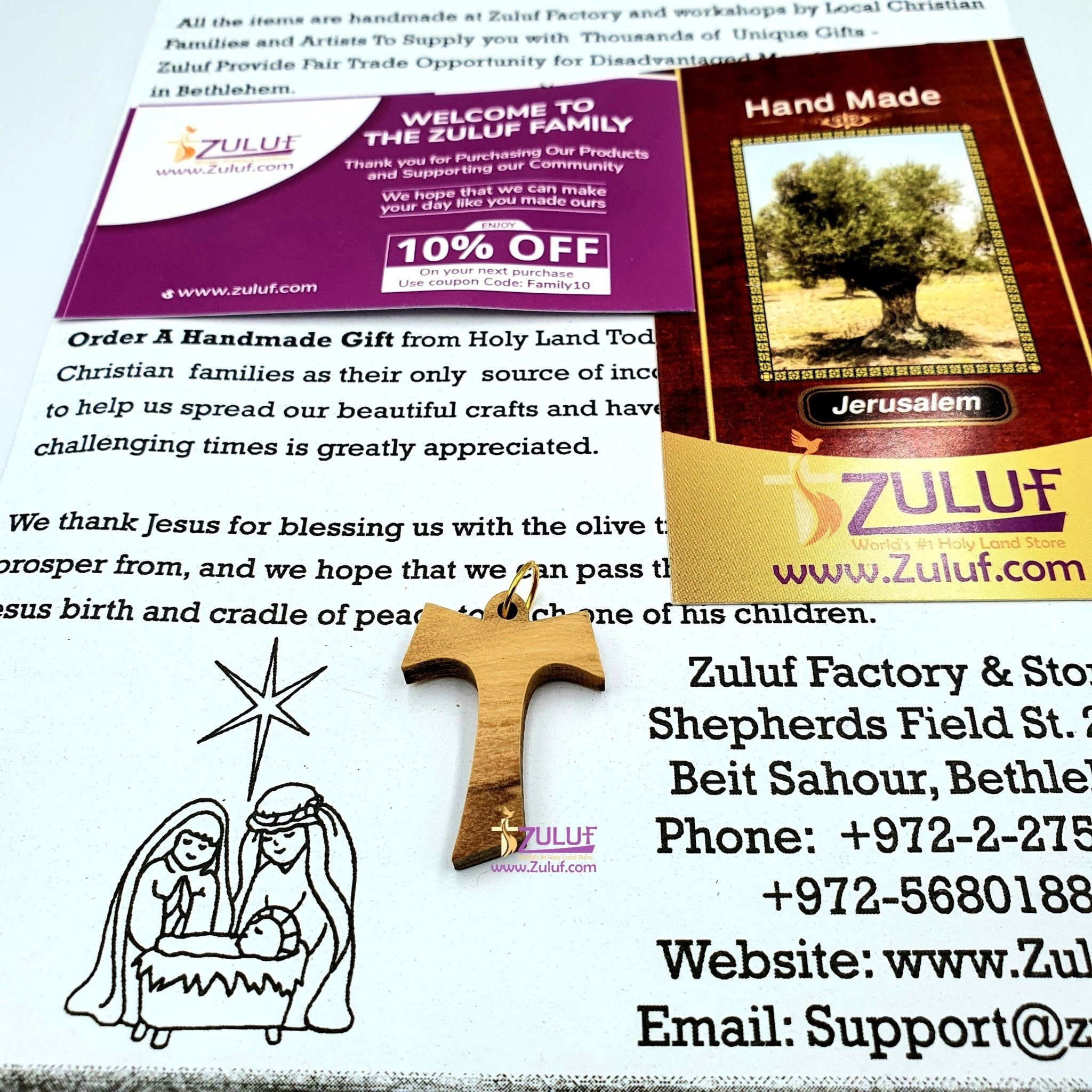 Olive Wood Tau Tao Cross Franciscan Pendant Hand Made Genuine Holy land - PEN164 - Zuluf
