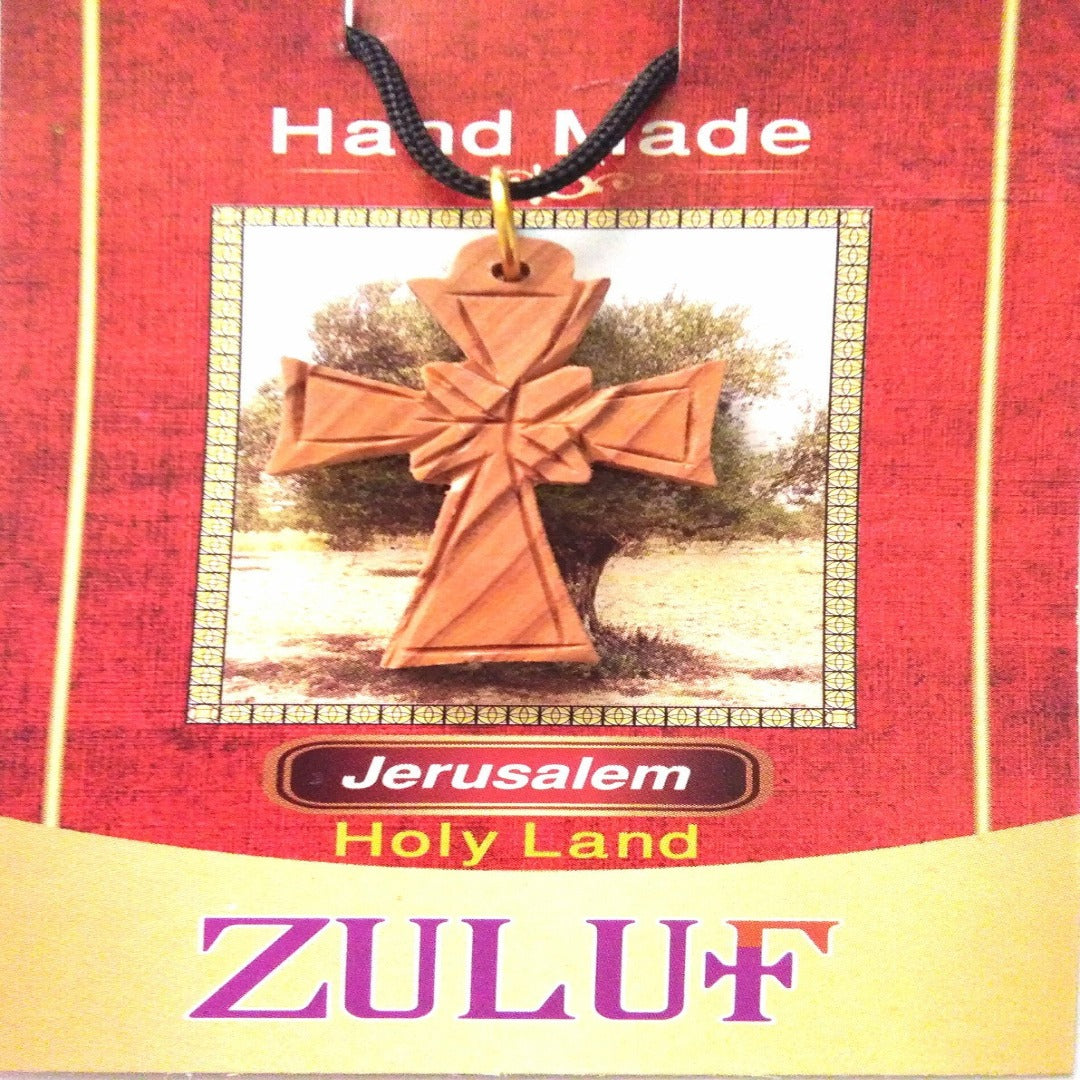Olive Wood Treasures Holy Land Cross Pendant - PEN156 - Zuluf