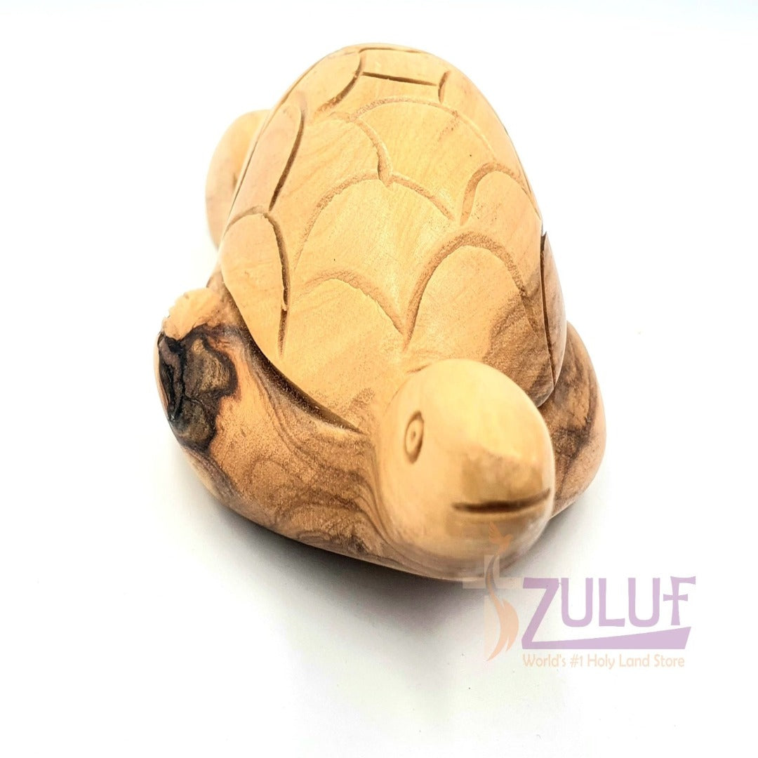 Olive Wood Turtle Statue Figure Gift - ANI007 - Zuluf