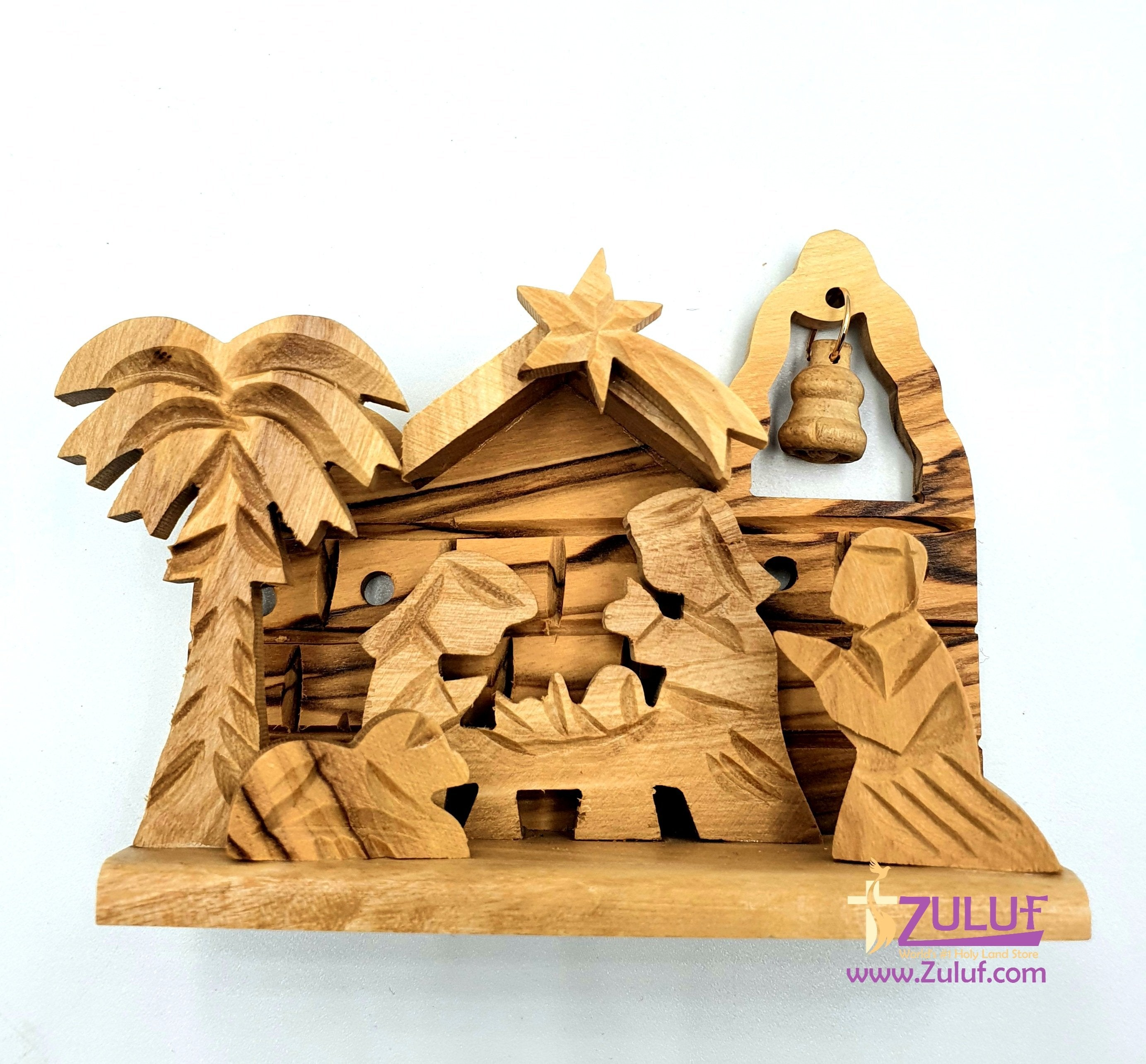 Olivewood Olive Wood Bethlehem Nativity 9cm Scene Set Holy land NAT067 - Zuluf