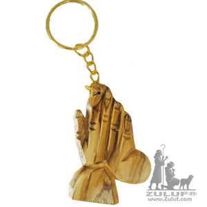 Olivewood Olive Wood Praying Hands of god Key Chain Holy Land Israel (OW-KC-003) - Zuluf