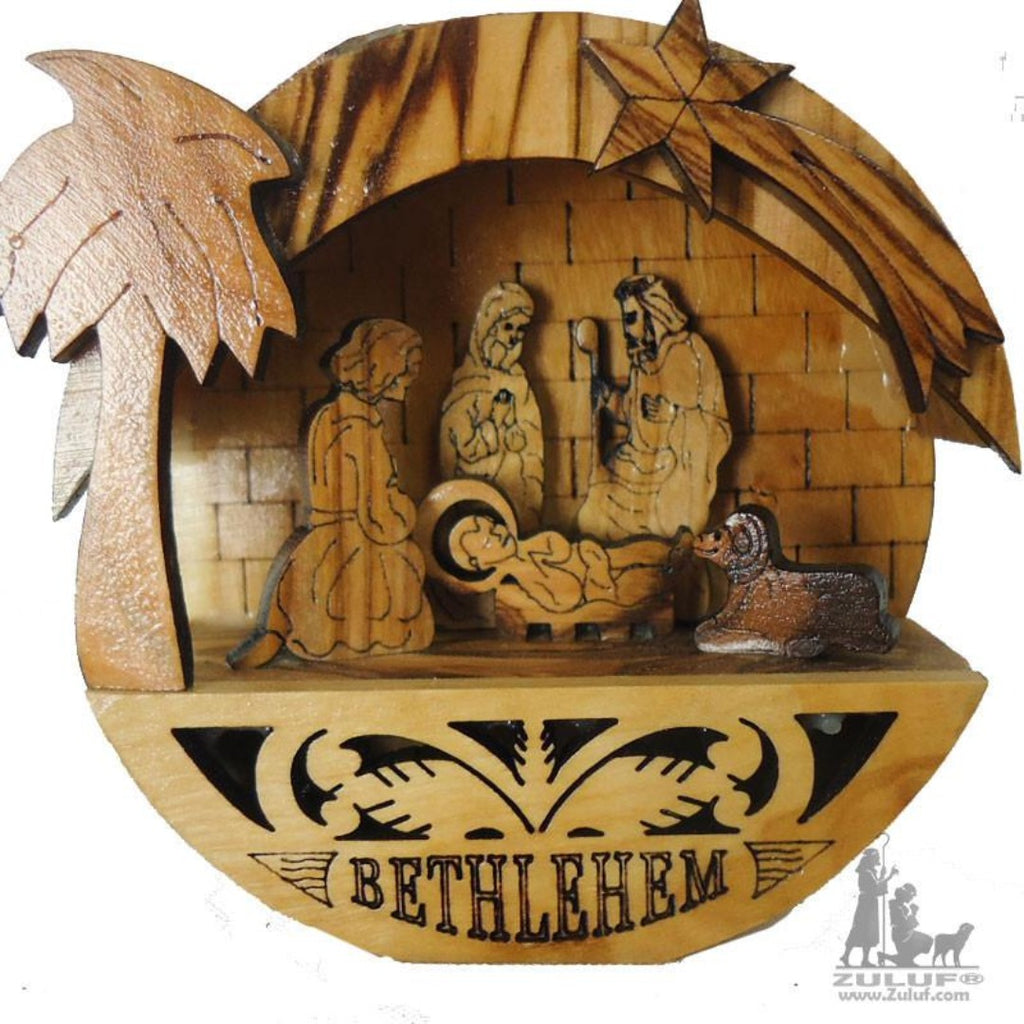 Olivewood Olive Wood Round Laser Nativity Scene Spiritual Gift by Zuluf - NAT001 - Zuluf