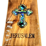 Orthodox cross Magnet Religious Art Olive Wood and mather of pearl Holy Land - MAG065 - Zuluf