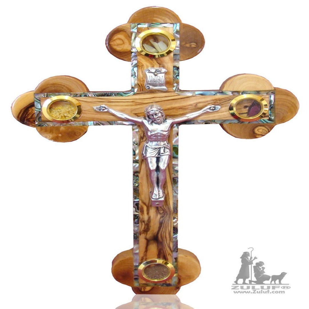 Orthodox Wall Olive Wood Cross Inlaid With Mother Of Pearl Holy land - 28X17.5CM/11X6.8in (MOP015) - Zuluf