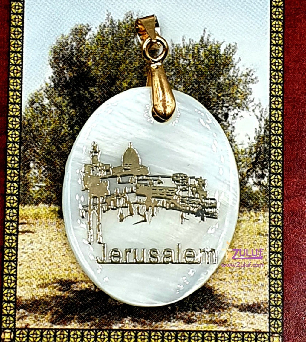 Oval Jerusalem Mother of Pearl Pendant by Zuluf PEN192 - Zuluf
