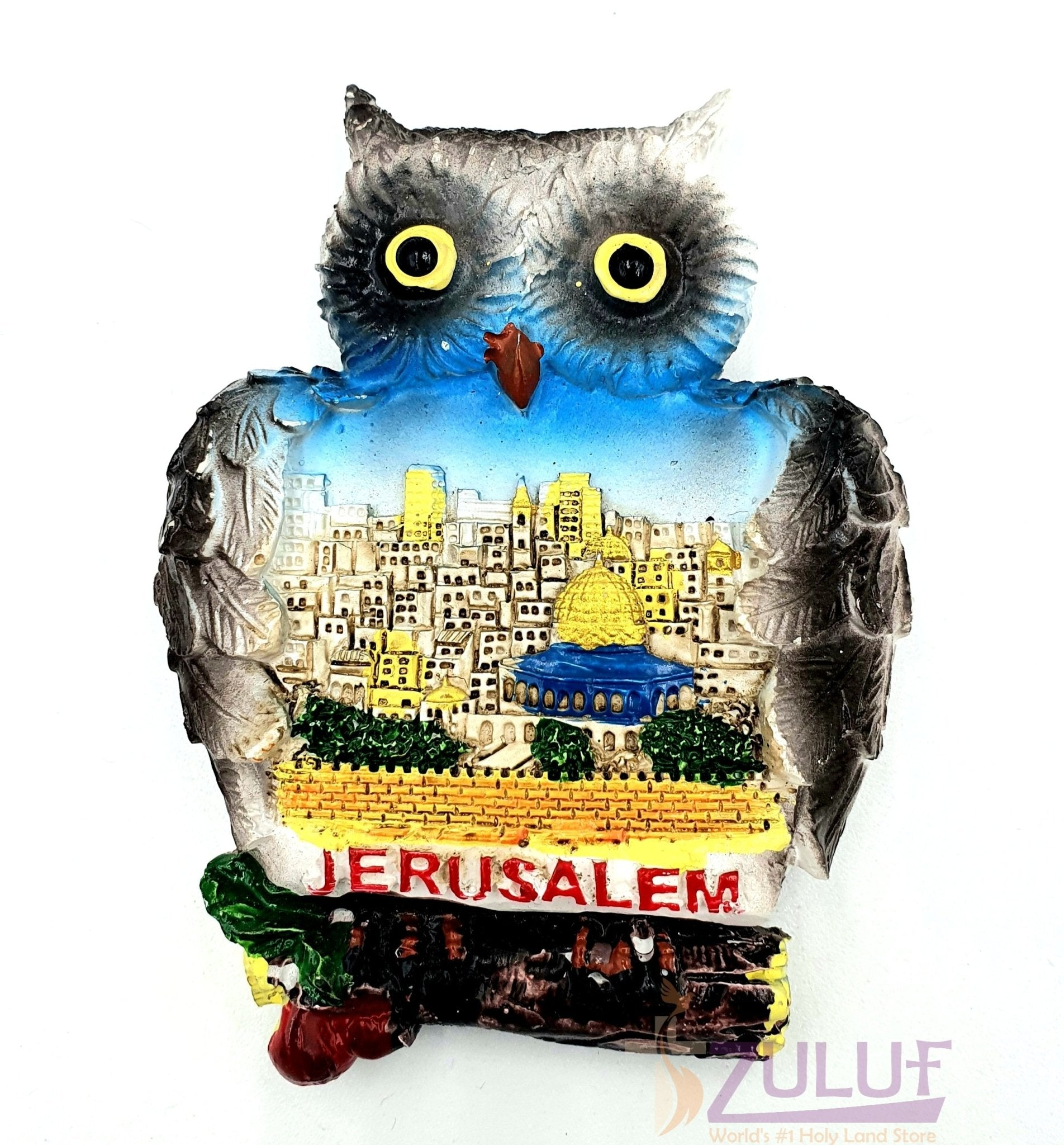 Owl And Jerusalem City Plaster Magnets Israel Mag095 - Zuluf
