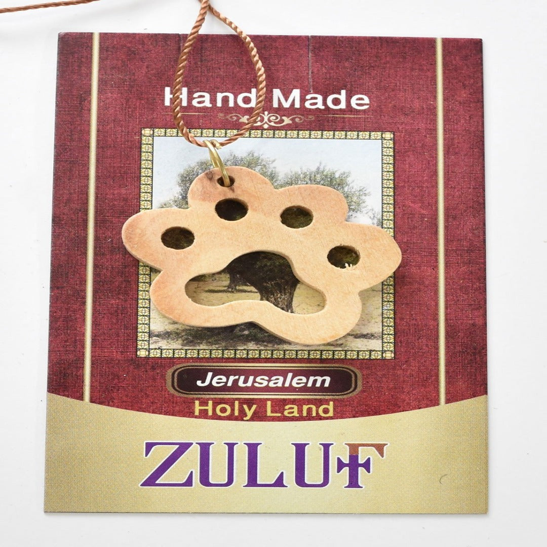 Paw Pendant Hand Carved Olive Wood Necklace Pet Dog Gift Charm From Holy Land (OW-PEN-054) - Zuluf