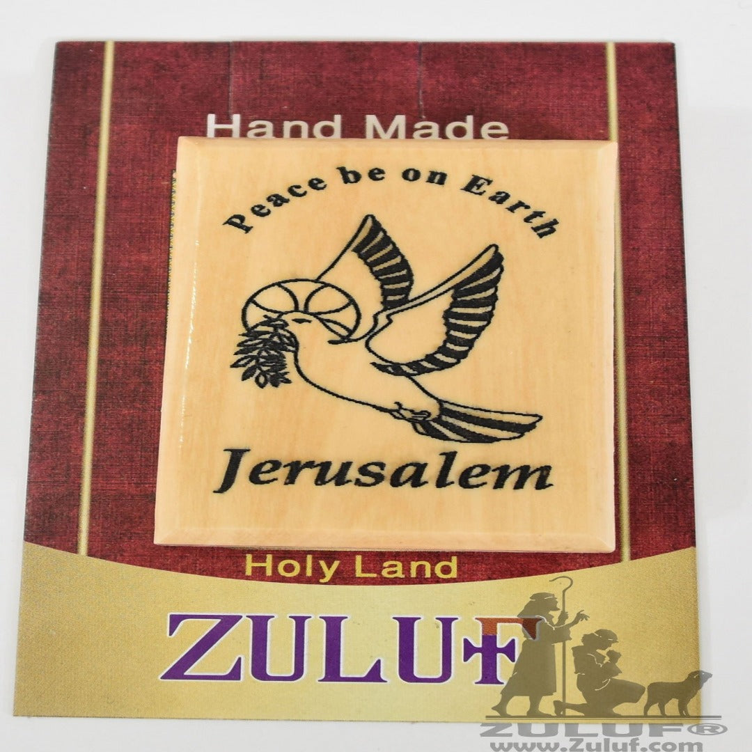 Peace be on Earth Jerusalem Magnet - Zuluf Olive Wood Factory - MAG050 - Zuluf