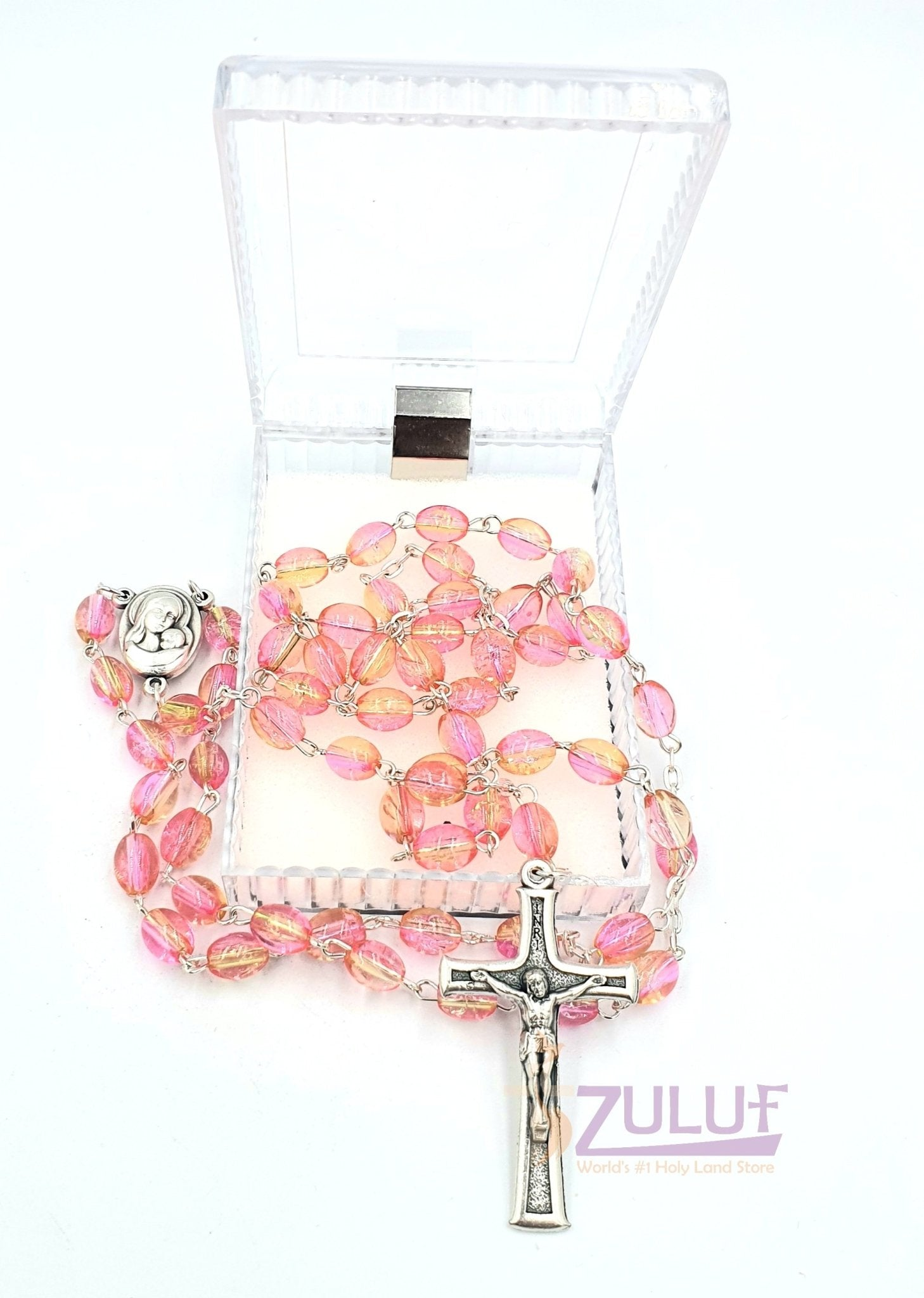 Pink Crystal Beads Rosary Catholic Necklace Holy Soil Medal & Crucifix - ROS034 - Zuluf
