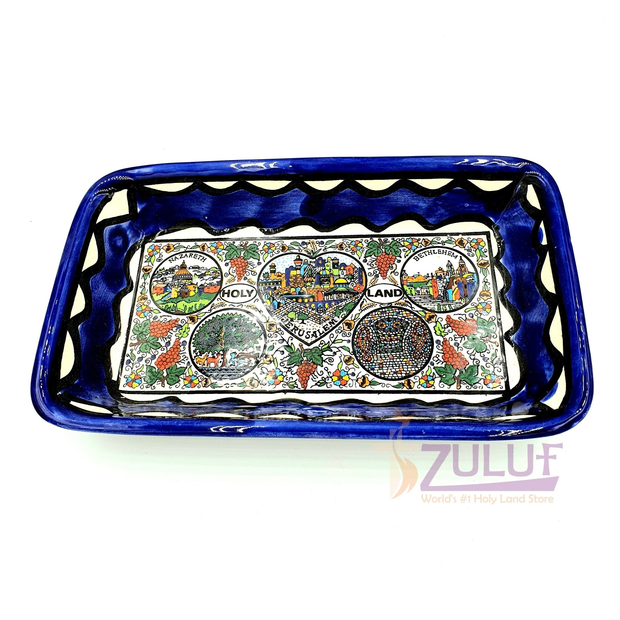 "pottery rectangular bowl 6.5 "" - Ceramic Bowl Tabgha Armenian Hand Painted by Zuluf - CER028 - Zuluf"