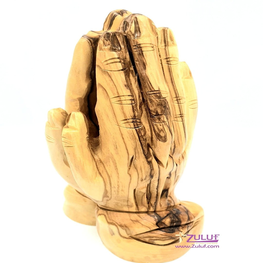 Praying Hands Olive Wood Statue Zuluf - 16X8CM/6.3X3.1in (FIG039) - Zuluf