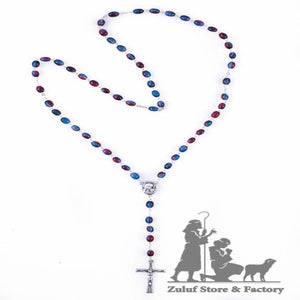 Red and Blue Crystal Beads Rosary Catholic Necklace Rosary from the Holy Land - ROS032 - Zuluf