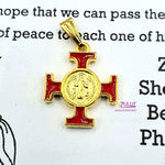 Red and Gold Metal Cross Pendant by Zuluf PEN199 - Zuluf