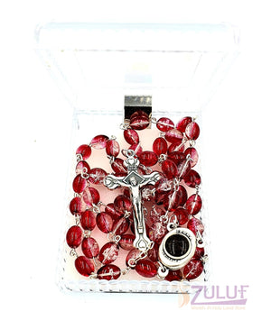 Red Crystal Beads Rosary Catholic Necklace Holy Soil Medal & Crucifix - ROS037 - Zuluf