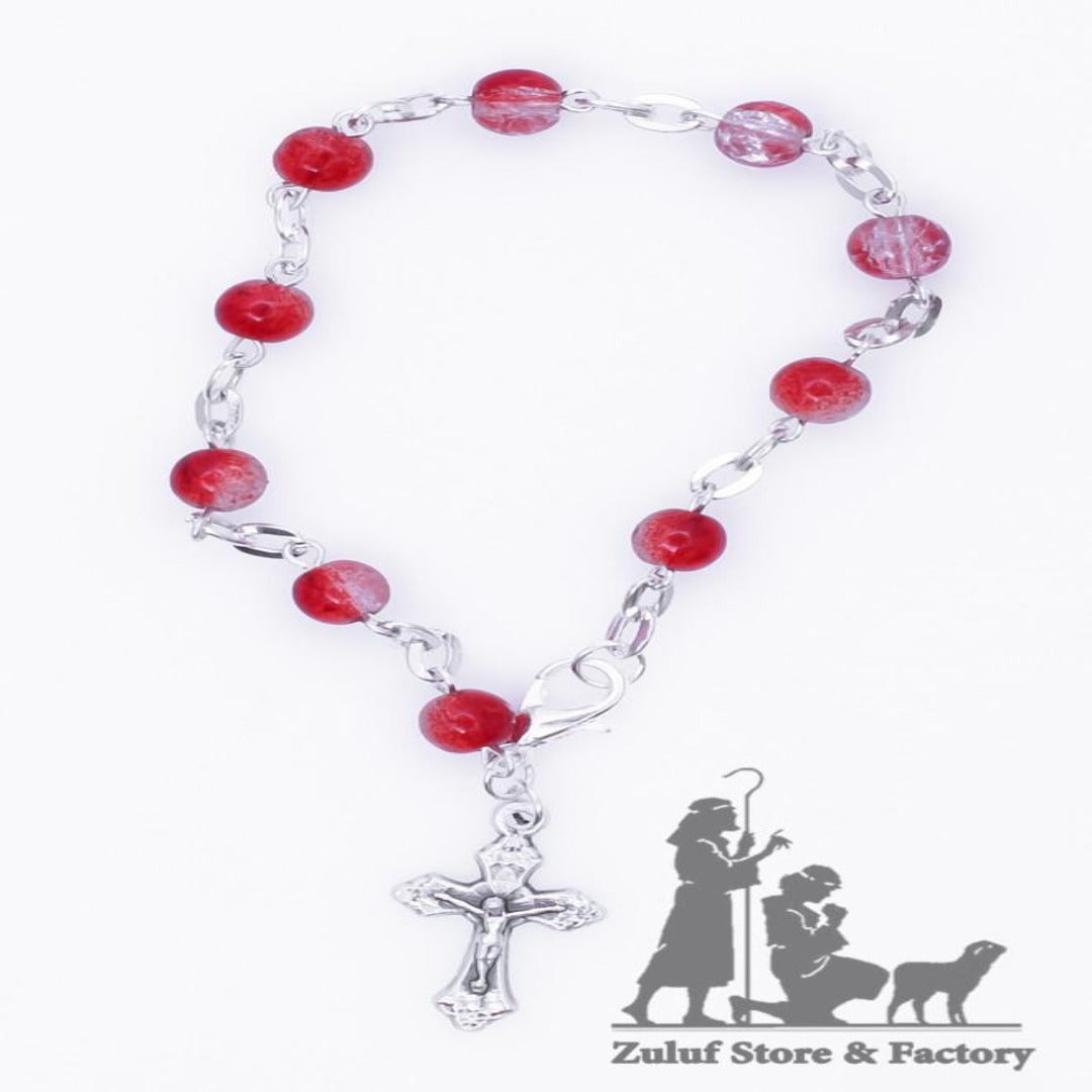 Red Crystal Rosary Bracelet With Silver Chain and Crucifix - BRA007 - Zuluf