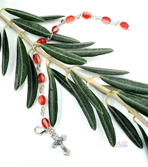 Red Crystal Rosary Bracelet With Silver Chain and Crucifix - BRA009 - Zuluf