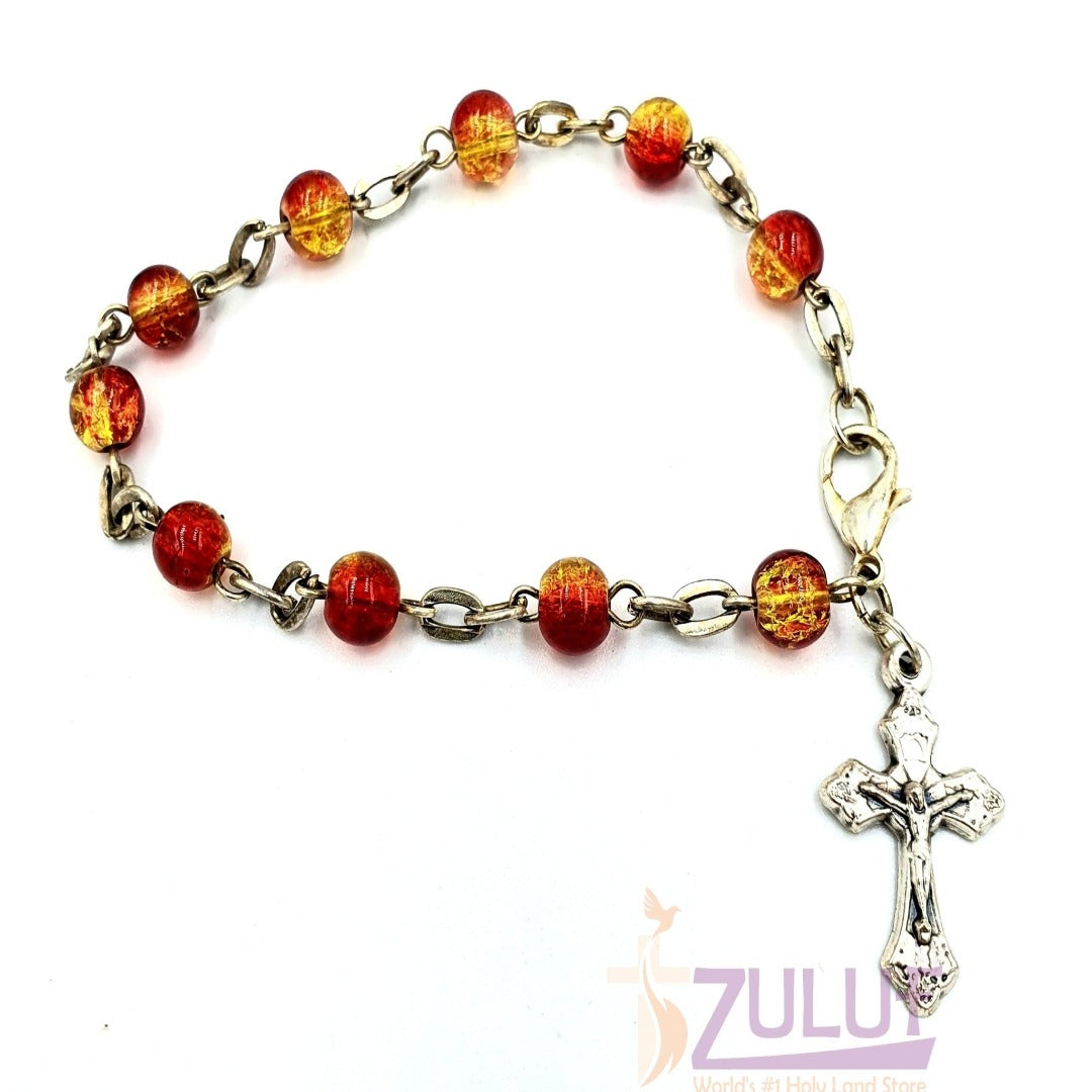 Red Crystal Rosary Bracelet With Silver Chain and Crucifix - BRA010 - Zuluf