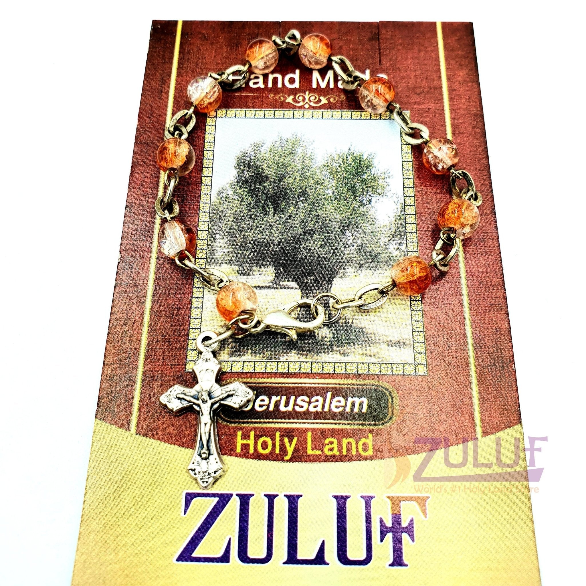 Red Crystal Rosary Bracelet With Silver Chain and Crucifix - BRA011 - Zuluf
