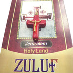 Red Holy Land Stone Cross with Golden Crucifix by Zuluf PEN204 - Zuluf
