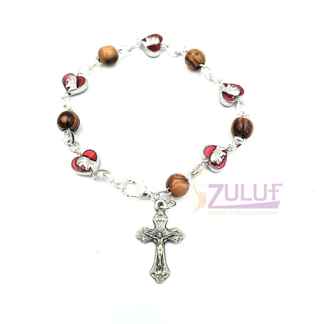 Red metallic bracelet and olive wood pieces with cross BRA048 - Zuluf