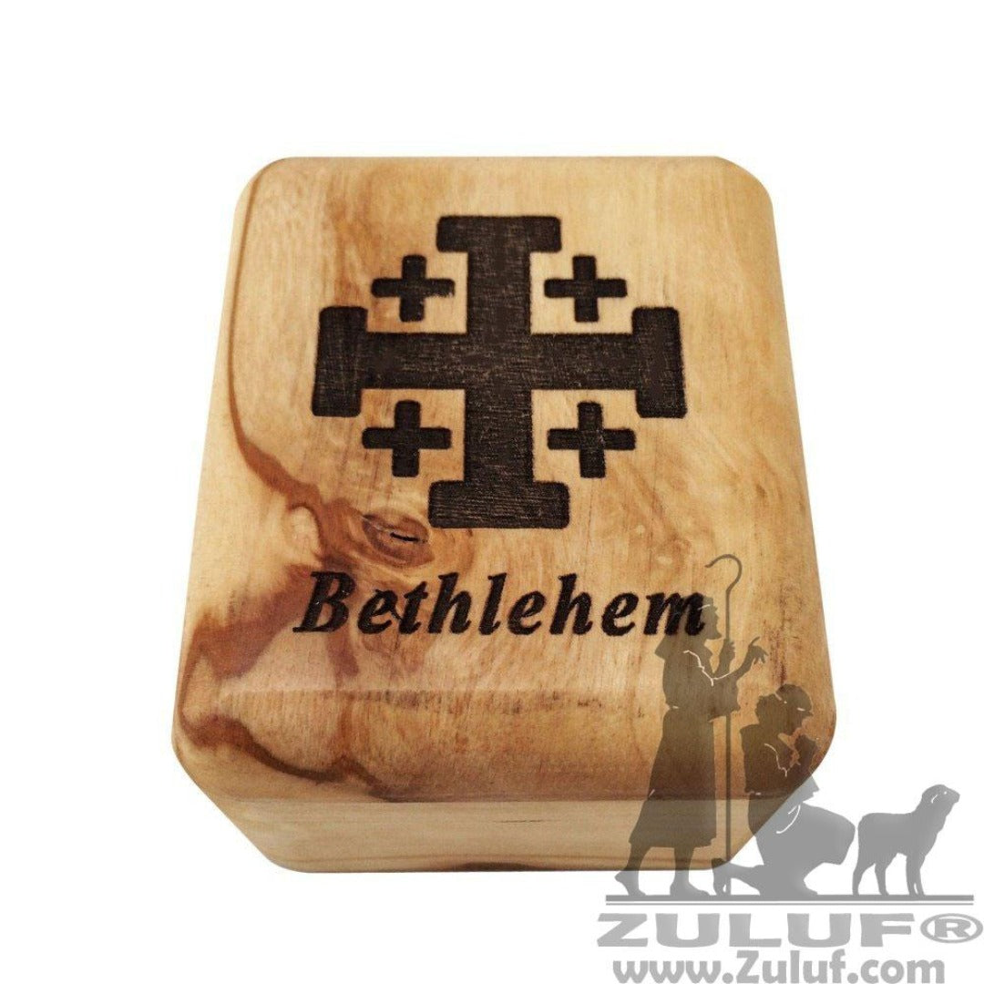 Rosary Box Jerusalem Cross Olive Wood Wholesale Zuluf Co. - 7X5.5X4CM/2.7X2.1X1.5in (BOX003) - Zuluf
