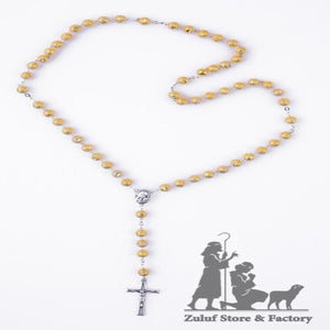 Rosary Necklace Metal Gold Tone Beads Rosary Top Quality Rosary Silver Soil Center and Silver Crucifix - ROS033 - Zuluf