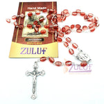 Rosary Necklace - Silver Plated Necklace Rosary Crystal Glass Beads & Jesus Crucifix and Jerusalem Cross - ROS006 - Zuluf