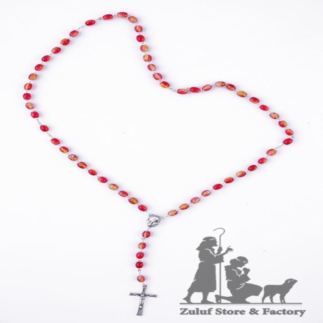Rosary Necklace - Silver Plated Necklace Rosary Crystal Glass Beads & Jesus Crucifix and Jerusalem Cross - ROS025 - Zuluf