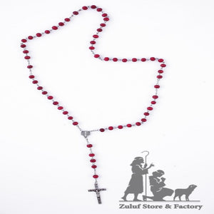 Rose Beads Jerusalem Rosary with Silver Tone Crucifix and Jerusalem Center Cross - ROS026 - Zuluf