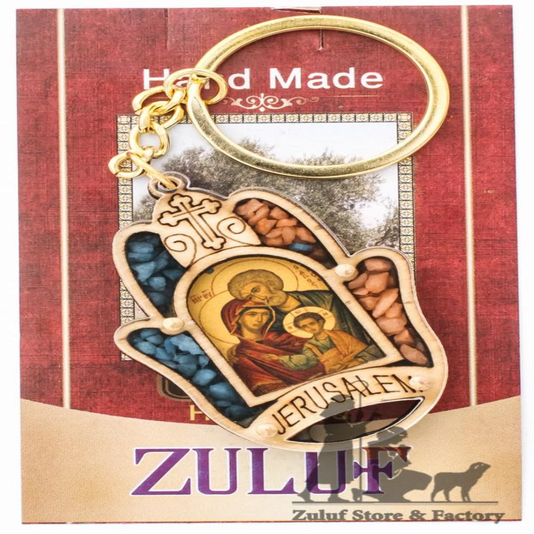 Sacred Family Icon Natural Stones Chrisitian Gift Key Chain Zuluf® 5.7X4CM/2.2X1.57in - KC020 - Zuluf