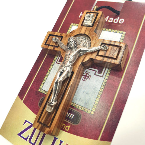 Saint Benedict Olive Wood Cross with Metal Crucifix PEN208 - Zuluf