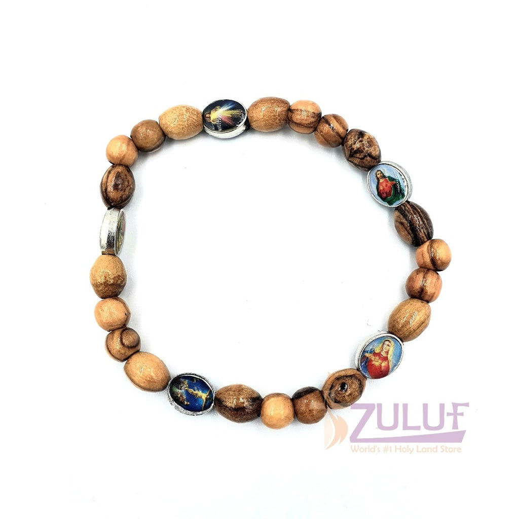 Saints Olive Wood hand made bracelet with 5 icons BRA063 - Zuluf
