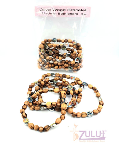 Image of Saints Olive Wood hand made bracelet with 5 icons BRA063 - Zuluf