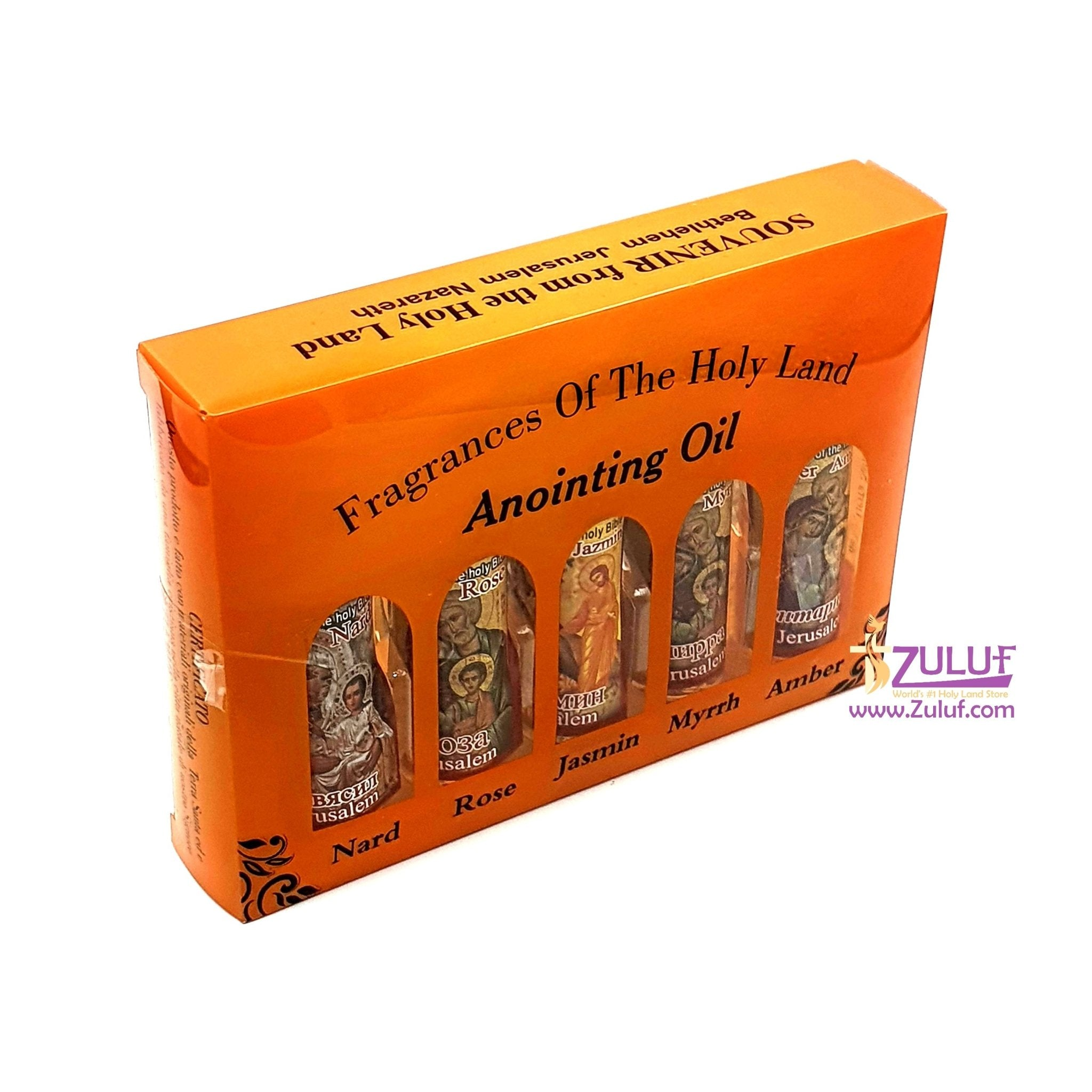 Set of 5 Roll-On Anointing Oils Jasmin Myrrh Amber Nard and Rose from Jerusalem Different anointing Oils Set from The Holy Land NPER023 Zuluf - Zuluf