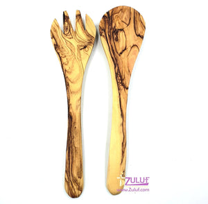 Set of two pieces of olive wood ladle and fork KIT027 - Zuluf