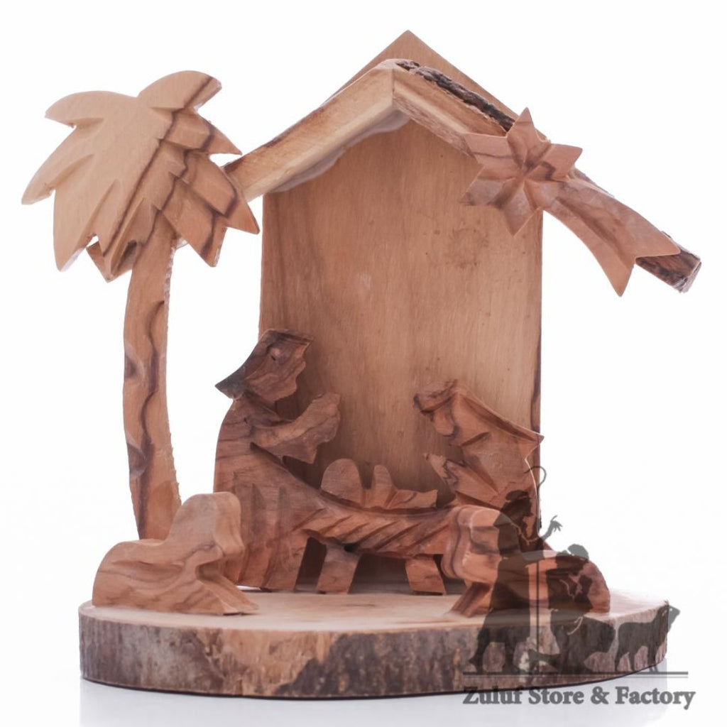 Small Genuine Olive Wood Nativity In Bulk Hanmade By Zuluf® - 9X8X7.5CM/3.5X3.1X2.9in (NAT053) - Zuluf