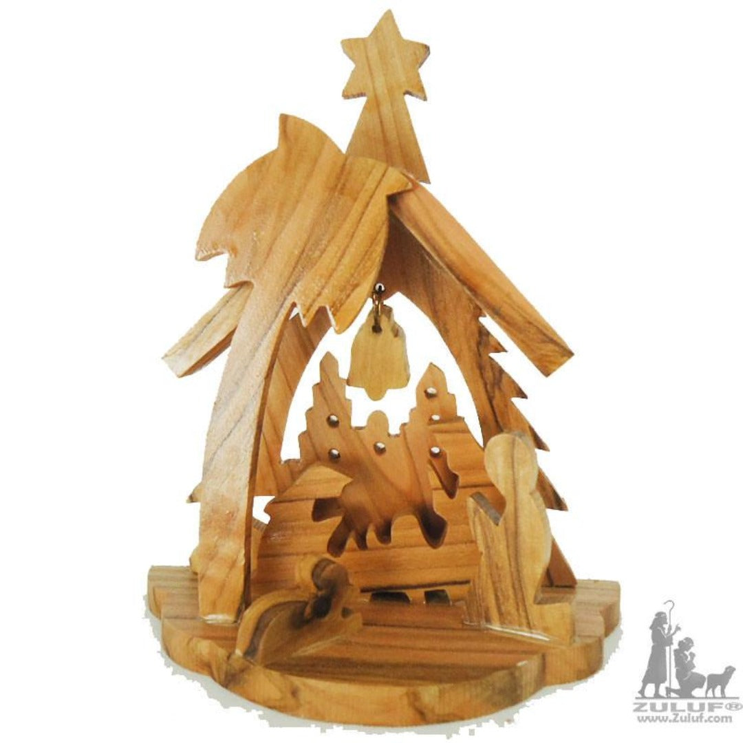 Small Hand Carved Olive Wood Nativity Set With Bell Religious Gift by Zuluf - NAT031 - Zuluf