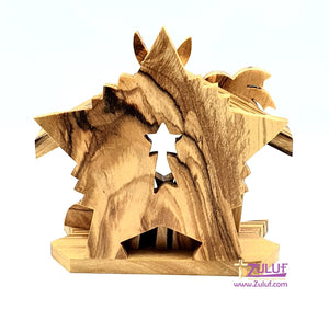 Small Hand Carved Olive Wood Nativity Set With Bell Religious Gift Zuluf - NAT033 - Zuluf