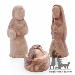 Small Handcarved Olive Wood Nativity Set Figurines From Bethlehem By Zuluf - (NAT065) - Zuluf